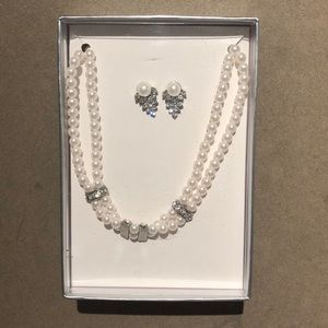 Pearl and CZ Necklace and Earring set